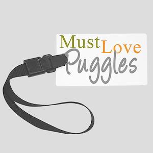 mustlovepuggles_black Large Luggage Tag