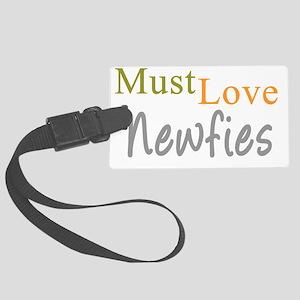 mustlovenewfies_black Large Luggage Tag