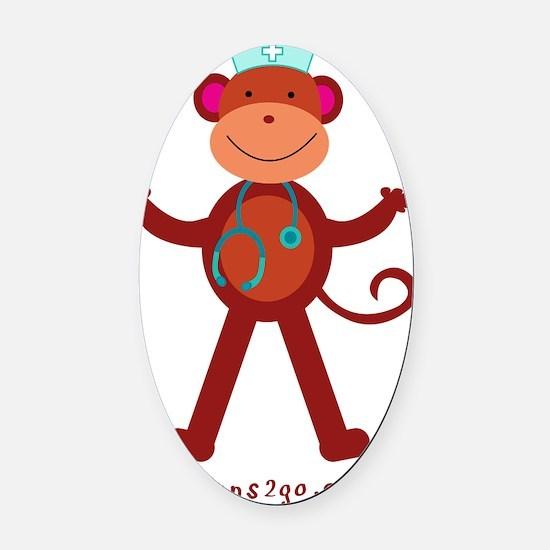Monkey RN Nurse Oval Car Magnet