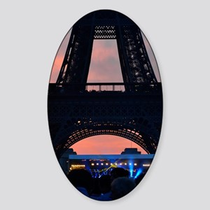 Eiffel Tower at Sunset, Bastille Da Sticker (Oval)