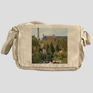 Eiffel Tower Garden View Messenger Bag