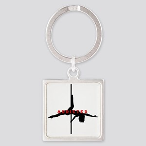 Addicted Black/Red Square Keychain