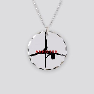 Addicted Black/Red Necklace Circle Charm