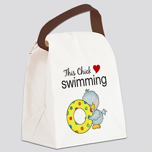 This Chick Loves Swimming Canvas Lunch Bag