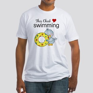 This Chick Loves Swimming Fitted T-Shirt