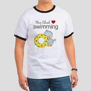 This Chick Loves Swimming Ringer T
