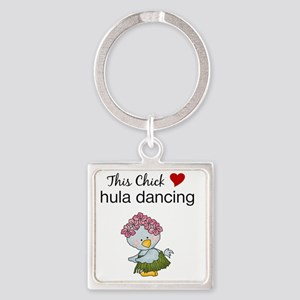 This Chick Loves Hula Dancing Square Keychain