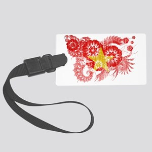 Vietnam textured flower aged cop Large Luggage Tag