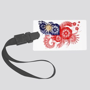 Taiwan textured flower aged copy Large Luggage Tag