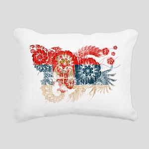 Serbia textured flower a Rectangular Canvas Pillow