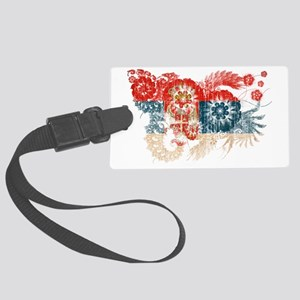 Serbia textured flower aged copy Large Luggage Tag
