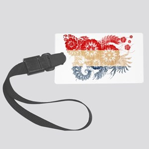 Netherlands textured flower aged Large Luggage Tag