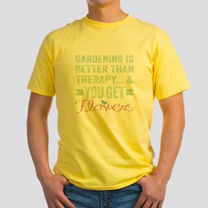 Gardening Better Than Therapy Yellow T-Shirt
