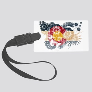Colorado textured flower aged co Large Luggage Tag