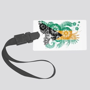 Bahamas textured flower aged cop Large Luggage Tag