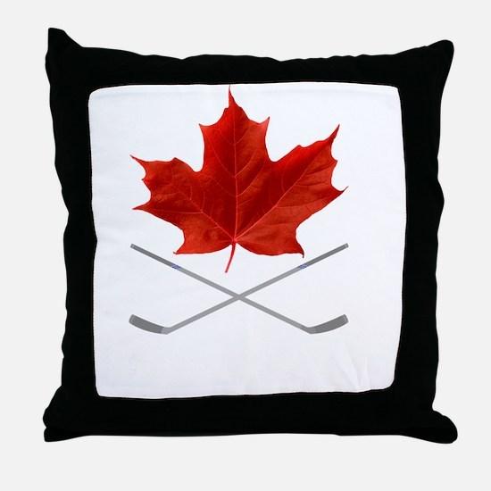 Canada-Hockey-6-whiteLetters copy Throw Pillow