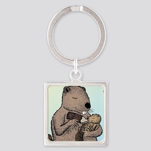 Mother Beaver and Baby Square Keychain