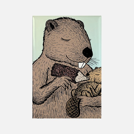 Mother Beaver and Baby Rectangle Magnet