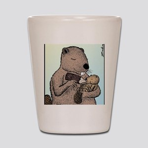 Mother Beaver and Baby Shot Glass