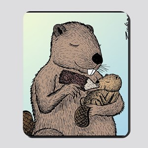 Mother Beaver and Baby Mousepad