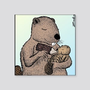 """Mother Beaver and Baby Square Sticker 3"""" x 3"""""""
