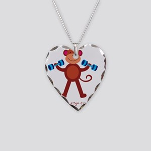 Monkey Weight Lifting Necklace Heart Charm