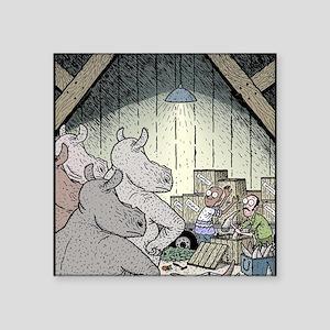 "Angry Rhinos Square Sticker 3"" x 3"""