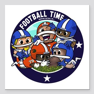 "Football Square Car Magnet 3"" X 3"""