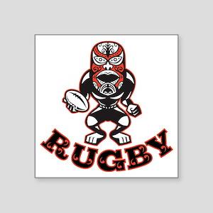"Maori Mask Rugby Player Run Square Sticker 3"" x 3"""