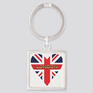 London Heart Square Keychain