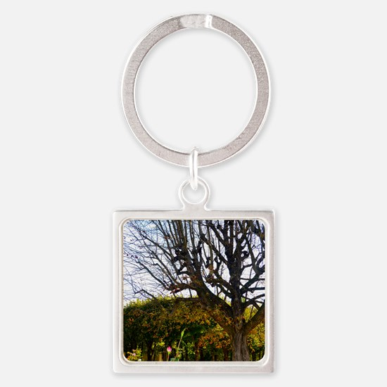 Garden of the Musée Rodin Square Keychain