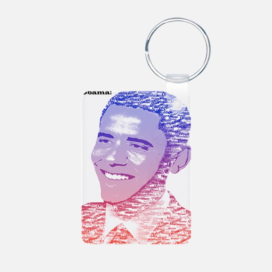 Obama USA Painted Name Red Keychains