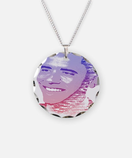 Obama USA Painted Name Red W Necklace