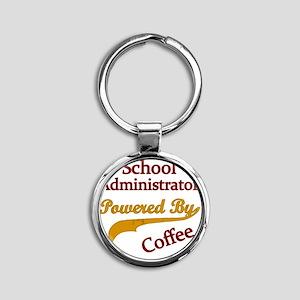 School Admin Powered By Coffee Round Keychain