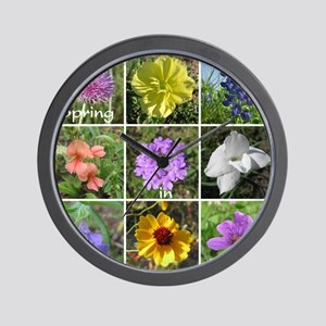 Texas Wildflowers Wall Clock