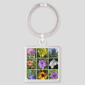 Texas Wildflowers Square Keychain