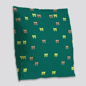 small ribbons green Burlap Throw Pillow