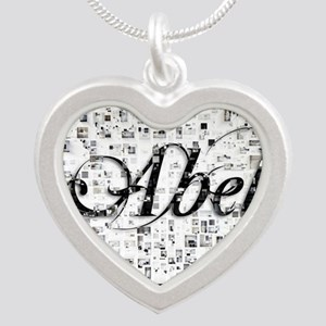 Abel, Matrix, Abstract Art Silver Heart Necklace