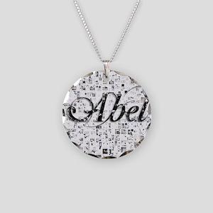 Abel, Matrix, Abstract Art Necklace Circle Charm
