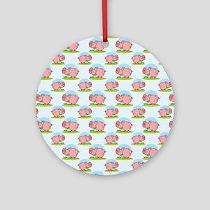 Greedy Pig Round Ornament