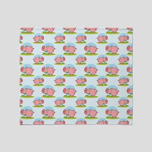 Greedy Pig Throw Blanket