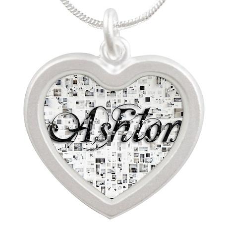 Ashton, Matrix, Abstract Art Silver Heart Necklace