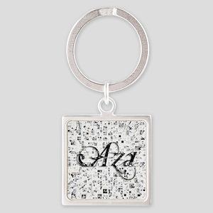Aza, Matrix, Abstract Art Square Keychain