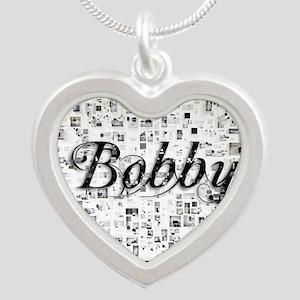 Bobby, Matrix, Abstract Art Silver Heart Necklace