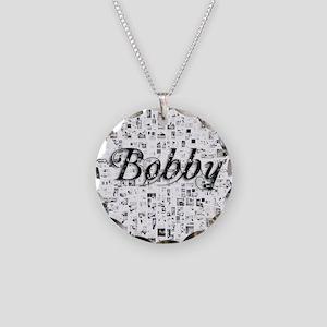 Bobby, Matrix, Abstract Art Necklace Circle Charm