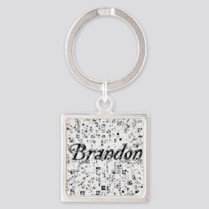 Brandon, Matrix, Abstract Art Square Keychain