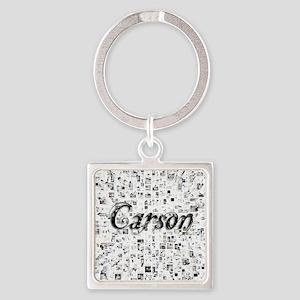 Carson, Matrix, Abstract Art Square Keychain