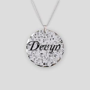 Devyn, Matrix, Abstract Art Necklace Circle Charm