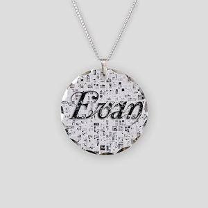 Evan, Matrix, Abstract Art Necklace Circle Charm