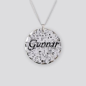Gunnar, Matrix, Abstract Art Necklace Circle Charm